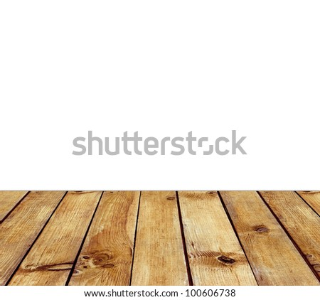 Wooden floor and white space for text background - stock photo