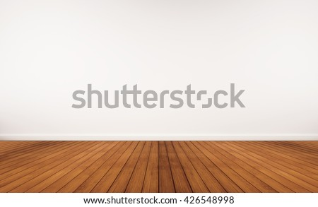Wooden floor and white wall - stock photo