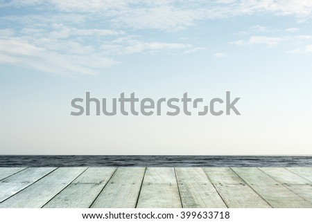 Wooden floor.Background  the sea - stock photo