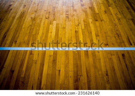 wooden floor basketball court - stock photo