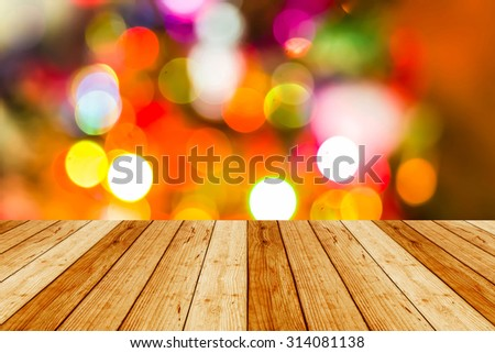 wooden floor christmas and Happy New Year background. Festive abstract background.  - stock photo