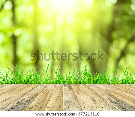 Wooden floor, green grass on sunlight for background