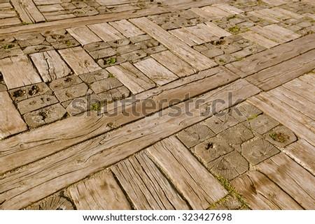 Wooden floor in village Drvengrad Mecavnik - Serbia - architecture travel background - stock photo