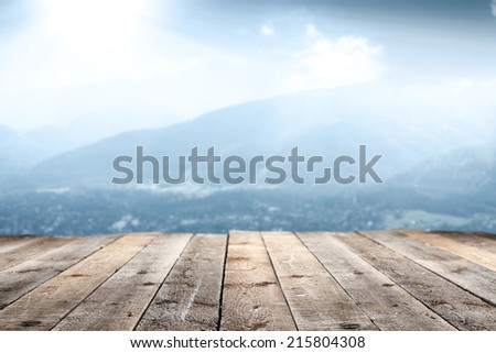 wooden floor of terrace and blue landscape  - stock photo