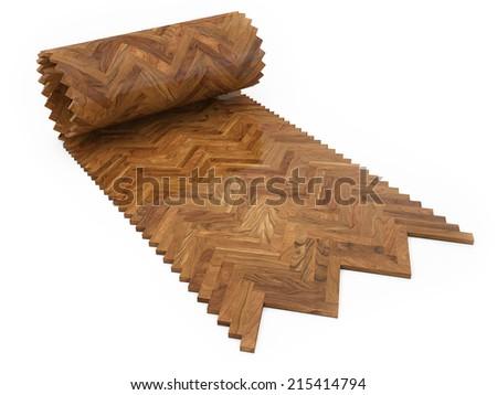 Wooden floor, Rool concept of parquet - stock photo