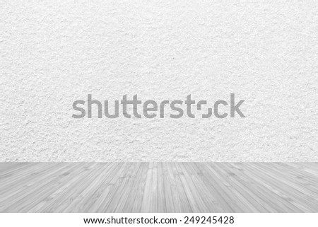 Wooden floor with granite wall texture background - stock photo