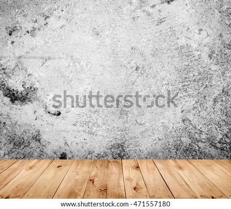 wooden floor with old cement wall background