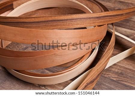 wooden floor with small veneer - stock photo