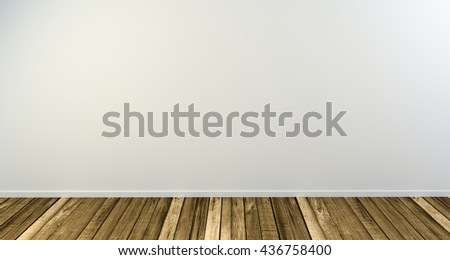 Wooden floor with white backdrop and copy space, 3d illustration render.