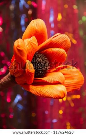 Wooden flower. - stock photo