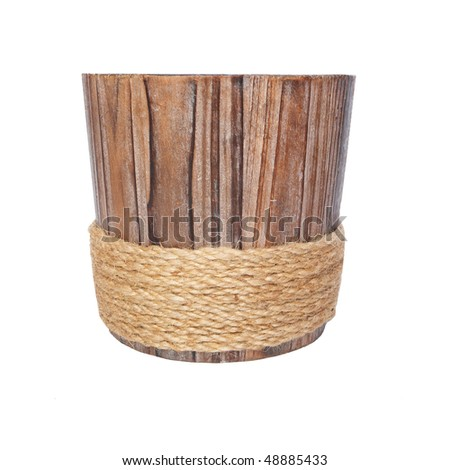 Wooden flowerpot isolated on white - stock photo