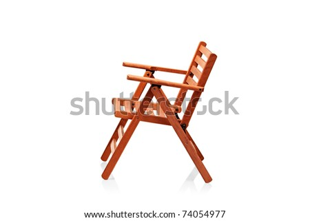 Wooden folding beach chair isolated on white background