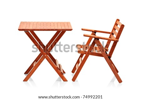 Wooden folding beach furniture isolated against white background