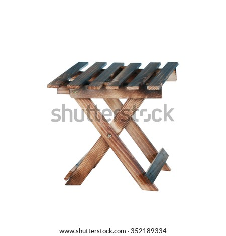 Wooden folding stool with clipping path.