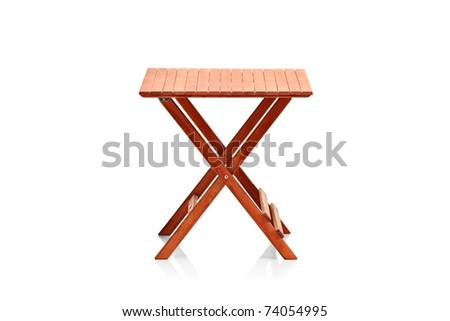 Wooden folding table isolated on white background