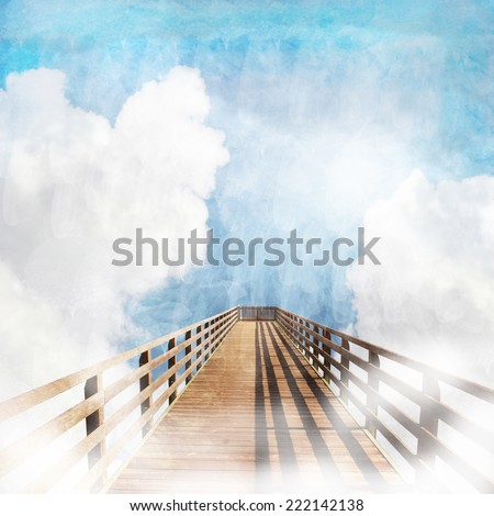 Wooden footbridge into cloudy sky, spiritually design. - stock photo