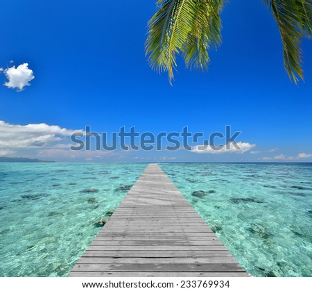 Wooden footbridge leading to the tropical lagoon  - stock photo