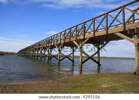 Wooden footbridge over the water near the beach - stock photo