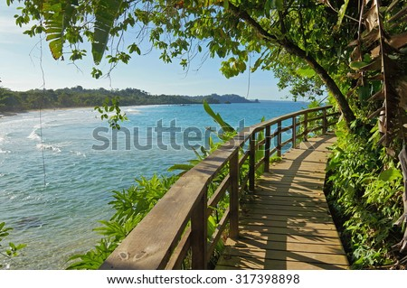 Wooden footbridge with lush vegetation along the Caribbean shore of Bastimentos island, Panama - stock photo