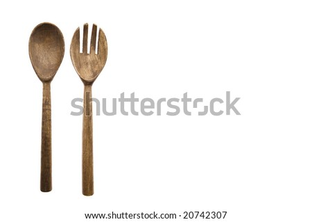 Wooden Fork and Spoon - stock photo