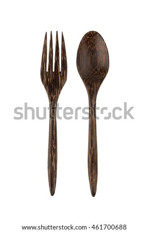 wooden fork isolated on white background with path