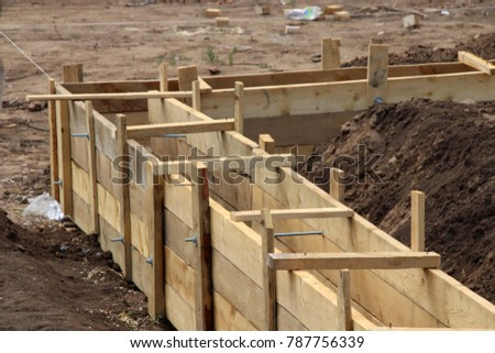 wooden formwork concrete strip foundation cottage stock photo 787756339 shutterstock. Black Bedroom Furniture Sets. Home Design Ideas