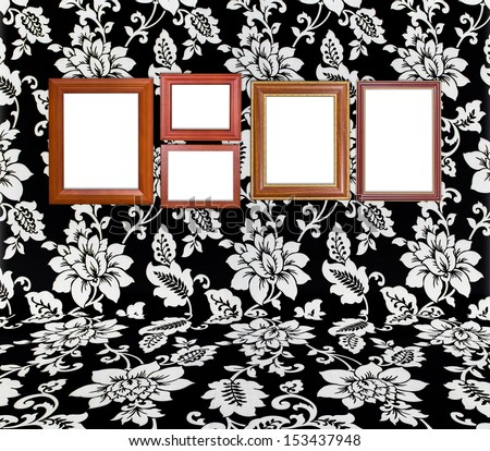 Wooden frame at wall in imagination flower room - stock photo