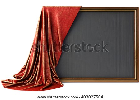 Wooden frame covered with a luxurious red cloth. Isolated on white background. 3D illustration