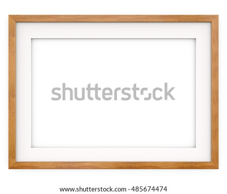 Wooden Frame. Flat Profile. 3D render of Classic Wooden Frame with white Passe-partout. Blank for Copy Space.