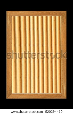 wooden frame isolated on black background and cardboard background.