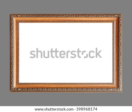 wooden frame isolated on gray background