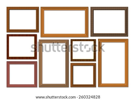 Wooden frame isolated on white background - stock photo