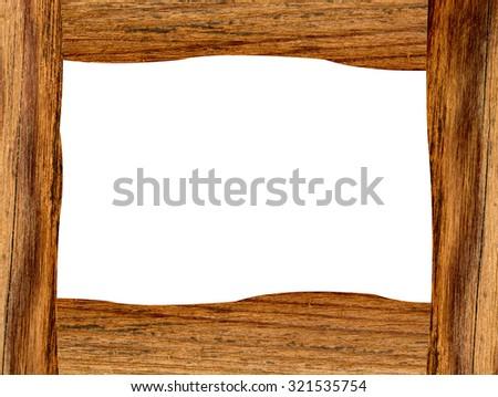 Wooden frame isolated on white background - stock photo