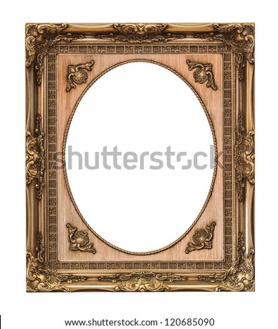 wooden frame isolated with clipping path - stock photo