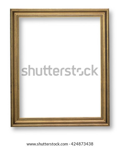wooden frame on white background with clipping path
