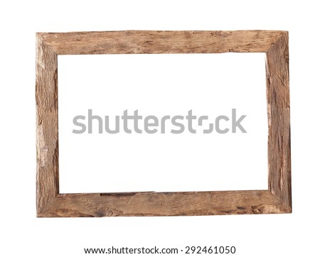 Wooden Frame. Rustic wood frame isolated on the white background  - stock photo