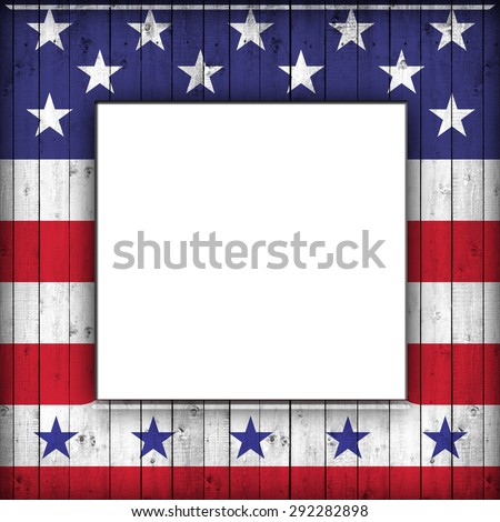 wooden frame with American flag with copyspace for your text or images and white background