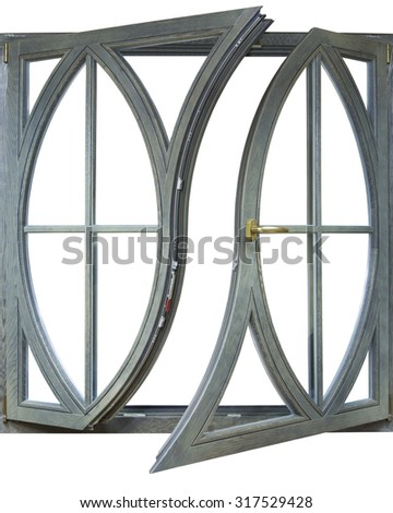 wooden frame with glass windows of the house on a white background - stock photo