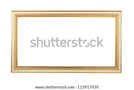 Wooden frame with golden elements for paintings or photographs isolated. Clipping path included/