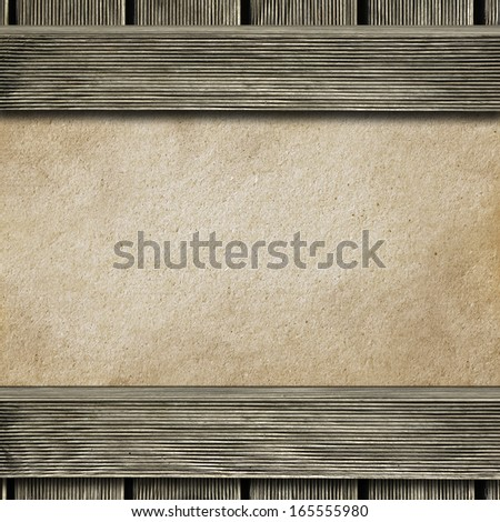 Wooden frame with hardboard texture in the background
