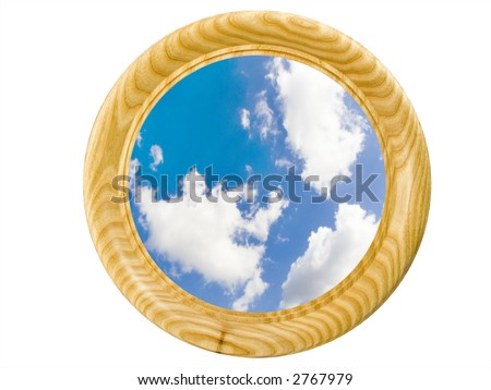 Wooden framework with a picture of the cloudy sky on a white background with path - stock photo