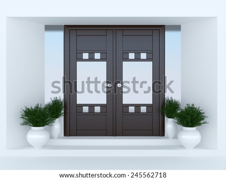 Wooden front door of modern house.