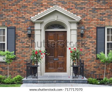 Wooden Front Door Flowers Stock Photo 717717070 Shutterstock