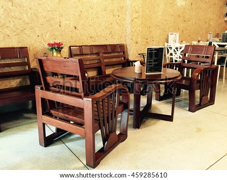 Wooden Furniture At The Coffee Shop, Cafe, Chairs And Tables