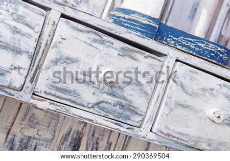 wooden furniture Shabby chic style - stock photo