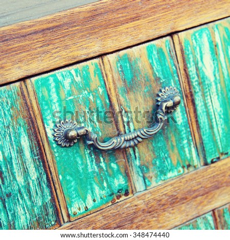 wooden furniture Shabby chic style. Shallow depth of field - stock photo
