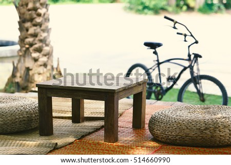 Wooden furniture Sit back and relax in the garden.