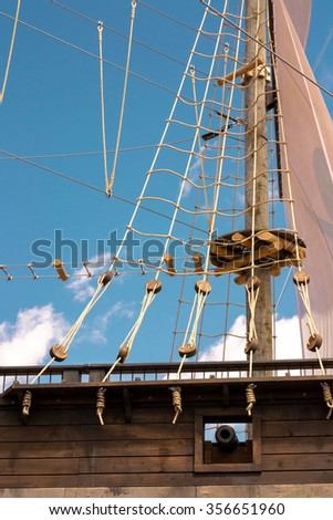 Wooden galleon in Montreal Old port build for summer amusement - stock photo
