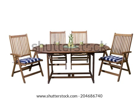 wooden garden furniture with coffee cups end live bamboo decoration isolated on white background