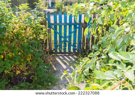 Wooden gate in the garden in summer - stock photo